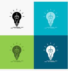 3d cube idea bulb printing box icon over various vector