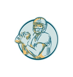 American Football QB Throwing Circle Etching vector image
