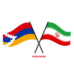 Artsakh and iran flags crossed and waving flat vector