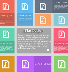 Audio MP3 file icon sign Set of multicolored vector image