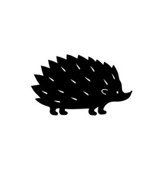black hedgehog silhouette vector image