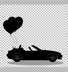 black silhouette of cabriolet car with pair of vector image