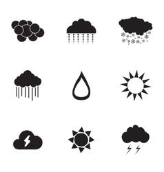 black weather icons set vector image