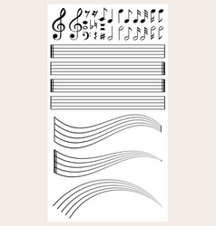 blank music paper with different notes vector image