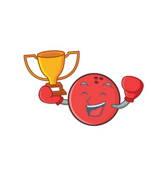 Boxing bowling ball character cartoon winner vector