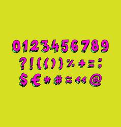 bright arabic numerals linear contour figures vector image