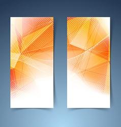 Bright orange crystal structure banner set vector image