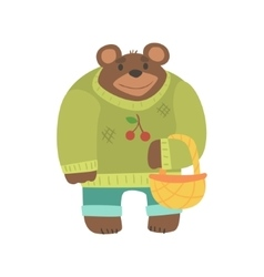 Brown Bear In Sweater With Wicker Basket Forest vector image