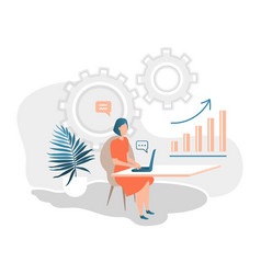 business woman working on the computer in the vector image