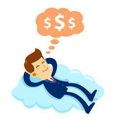 businessman sleeping on a cloud dreaming about vector image