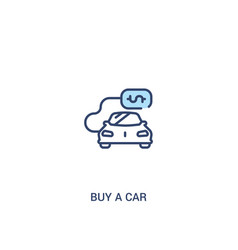 Buy a car concept 2 colored icon simple line vector