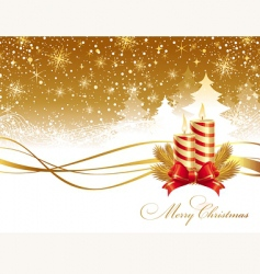 Christmas landscape and candles vector image