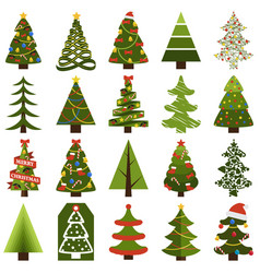 christmas trees in natural condition and decorated vector image