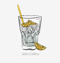 Cocktail john collins white cocktail ice cubes vector