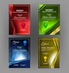 colorful collection of patent document set vector image