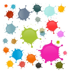 Colorful Stains Blots Splashes Set Isolated on vector image