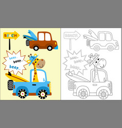 coloring book or page truck cartoon with vector image