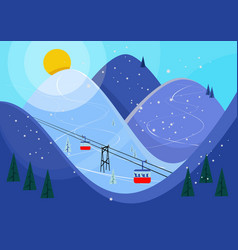 Cool pastel cartoon ski poster mountain vector