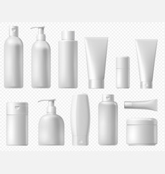cosmetic package white shampoo bottle cream tube vector image