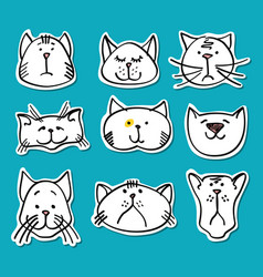 Cute doodle cats stickers collection vector