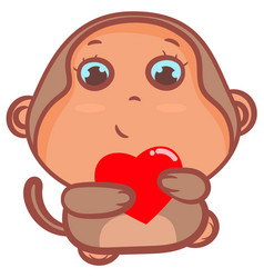 Cute little brown monkey smiling vector