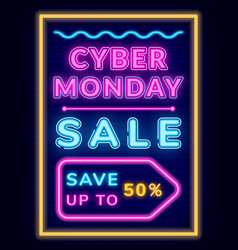 cyber sale on monday save up money neon board vector image
