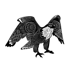 Decorative falcon zentangle stylized bird vector