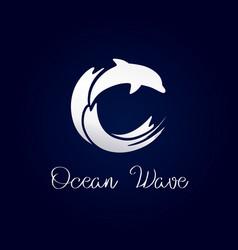 Dolphin waves logo silver vector