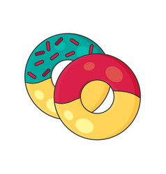 donuts in color flat icon style vector image