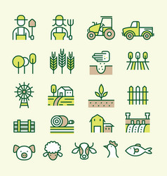 farm and agriculture line icons set vector image