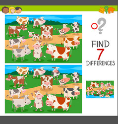 Find differences game with cows animal characters vector
