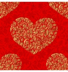 Fine seamless pattern with ornate hearts vector
