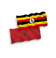Flags morocco and uganda on a white background vector