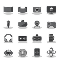 flat icons for virtual reality vector image