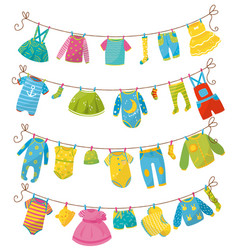 Flat set of kids clothes on rope apparel vector