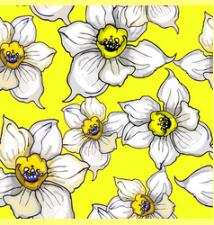 floristic seamless pattern with flowers of vector image