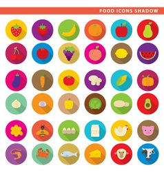 food icons shadow vector image
