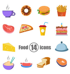 food set of 14 icons in a flat style vector image