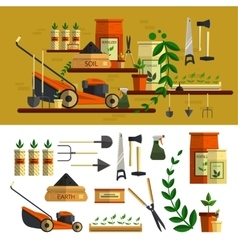 Gardening tools icon set flat vector image