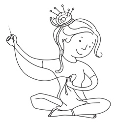 Girl sewing line vector