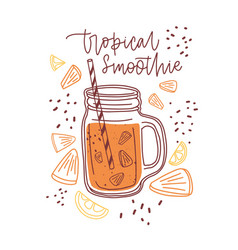 Glass jar tropical smoothie with orange vector