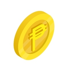 Gold coin with peso sign icon isometric 3d style vector image