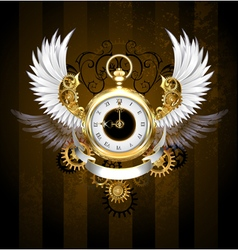 Gold Watch with White Wings vector