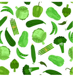 green vegetables seamless pattern cabbage vector image