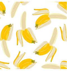 half peeled banana seamless pattern on white vector image