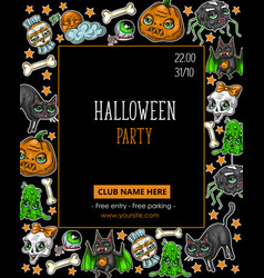 Halloween party flyer with pumpkins vector