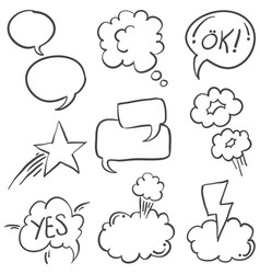 Hand draw speech bubble style of doodles vector