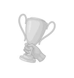 Hand with winner cup icon black monochrome style vector image
