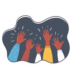 hands raised up symbol freedom choice fun vector image