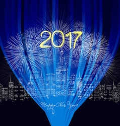 Happy new year 2017 written with Sparkle firework vector